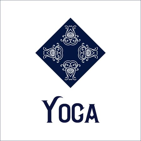 Simple with abstract curly symbol for yoga studio or yoga instructor. Company design. Vector illustration Иллюстрация