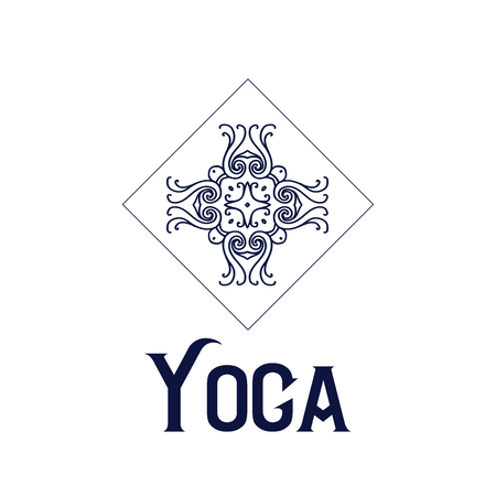 Simple icon with abstract curly symbol for yoga studio or yoga instructor. Фото со стока - 60230647