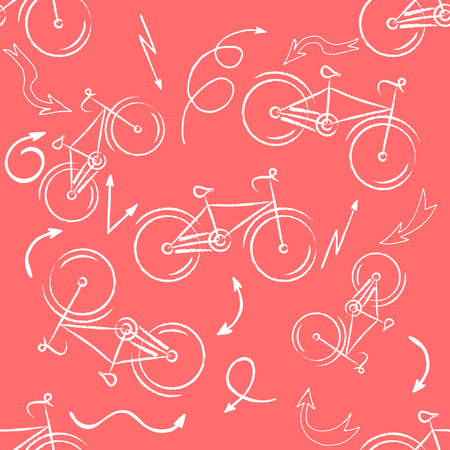 Seamless bicycles pattern. white icons on red background. Sport print. Иллюстрация