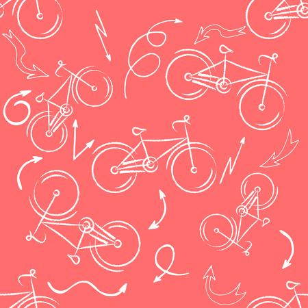 Seamless bicycles pattern. white icons on red background. Sport print. Ilustração