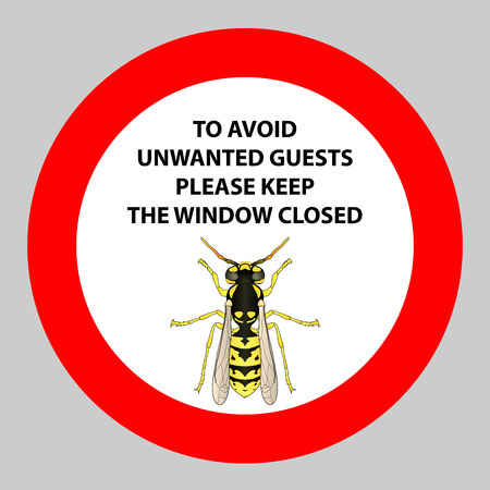 Sticker with Warning sign insect wasp icon .
