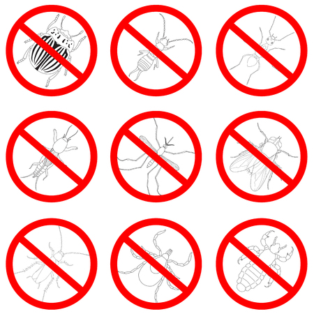Pest and insect control, icons set. Tick and cricket, bug and ant, fly and cockroach, colorado beetle and mosquito Illustration