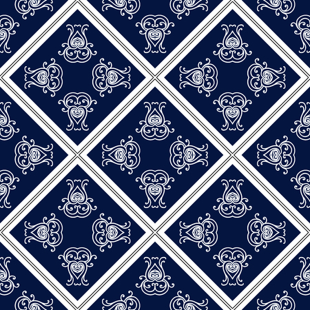 Abstract seamless pattern, vintage ornament, blue and white background. Иллюстрация