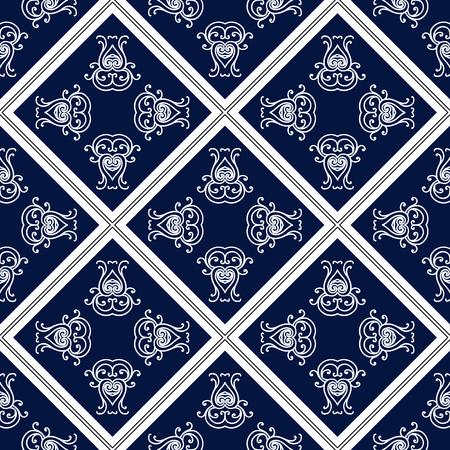 Abstract seamless pattern, vintage ornament, blue and white background. Ilustração