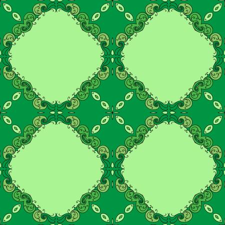 Elegant green background made of floral decorative pattern.