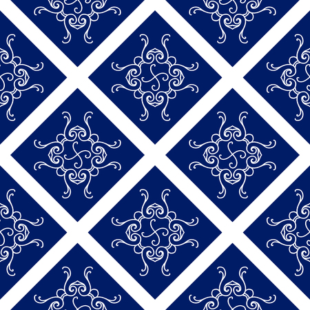 Abstract seamless pattern, vintage ornament, blue and white background. Фото со стока - 60230770