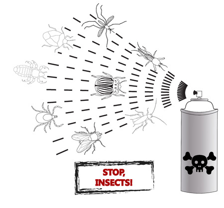 dead insect: Spray against insects insecticides. anti pesticides, spiders, bugs, aphids, face of dead insect in poison toxic cloud isolated on white backgrond, illustration sign Illustration