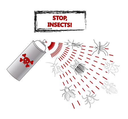 Spray against insects insecticides. anti pesticides, spiders, bugs, aphids, face of dead insect in poison toxic cloud isolated on white backgrond, illustration sign Ilustração