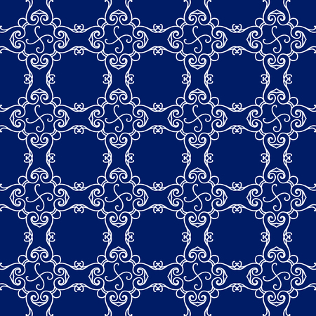Abstract seamless pattern, vintage vector ornament, blue and white background. Vector illustration Фото со стока - 63993619