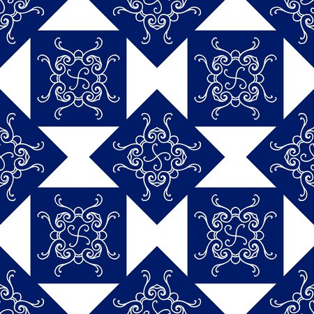 Abstract seamless pattern, vintage vector ornament, blue and white background. Vector illustration