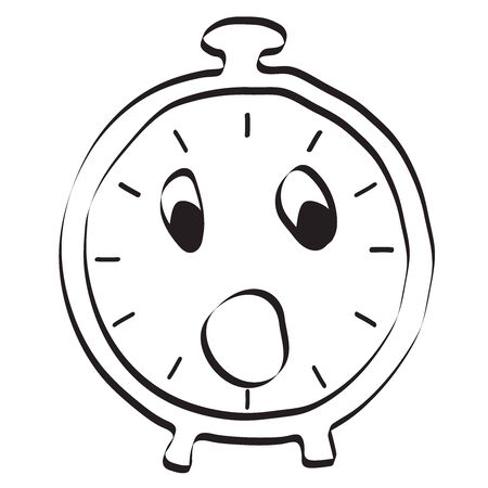 alarm clock icon. Editable vector graphic in linear hand-drawn style. Vector illustration