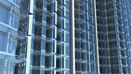 metall and glass: blank facade of glass office building with reflections and blank interior