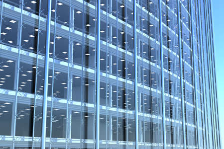 blank curved facade of glass office building with reflections,lights and blank interior Stock Photo - 5654252