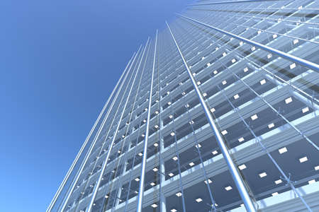 celling: blank curved facade of glass office building with reflections,lights and blank interior