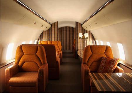 plane table: Interior de avi�n privado con dise�o personalizado  Foto de archivo