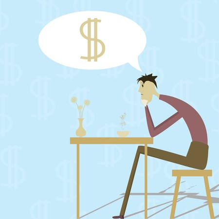 Sad man sitting at the table and dreaming about the money