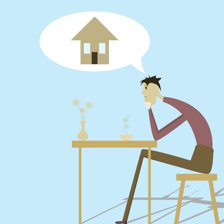 Sad man sitting at a table and wants to have their own housing Illustration