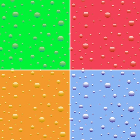 Set of vector seamless colorful textures with droplets