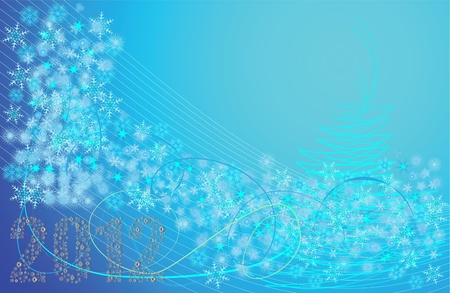 abstract vector winter background in blue and snowflakes Stock Vector - 11659725
