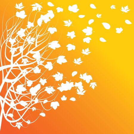 Vector illustration of an abstract for an autumn theme with deciduous leaves Vector