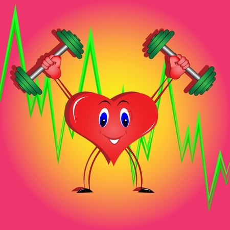 hand with dumbbell: The illustration on the theme of healthy lifestyle and exercise to strengthen heart Illustration
