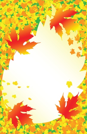 Autumn leaves frame with a yellow background and place for text Vector