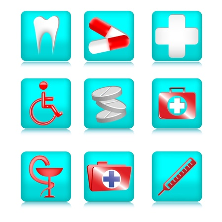Set of medical icons made ??in blue on a white background Vector
