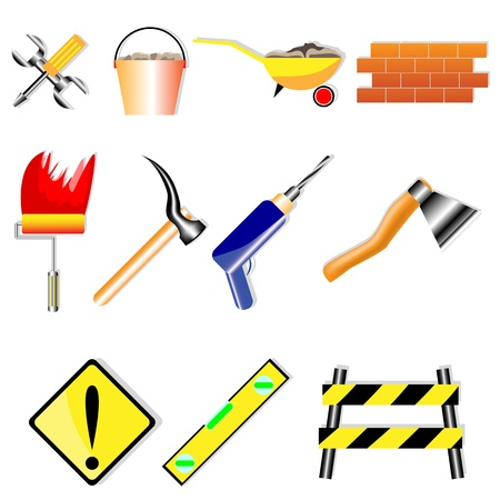 A set of icons for various building designs on a white background Stock Vector - 11659645