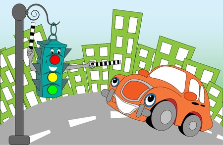 purple car: Cheerful cartoon traffic light regulating traffic on city streets