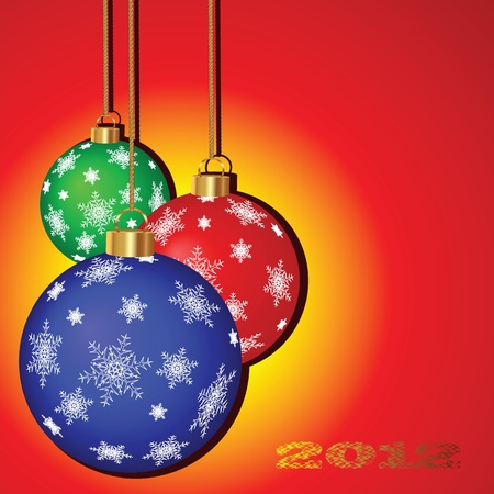 Christmas vector background with colorful festive balloons Vector
