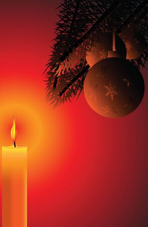 candle lights: Christmas background card with a candle and Christmas tree balls