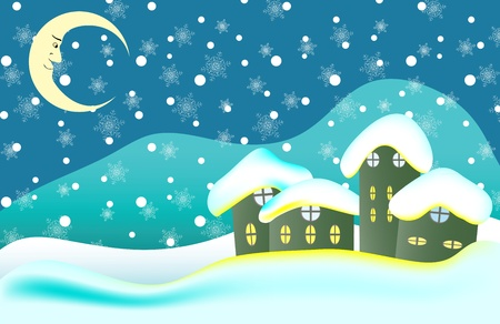 Christmas background with postcard cottages and a lunar landscape
