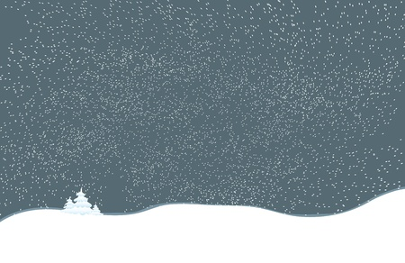 christmas motif: Christmas night landscape with trees and falling snow