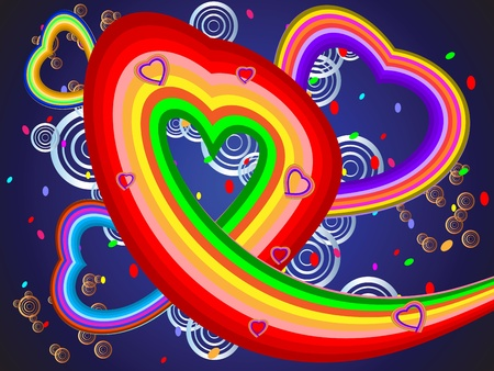 Colorful illustration with hearts of different color bands of the rainbow Vector