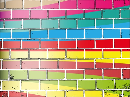 Abstract background with multi-colored image of a brick wall Vector