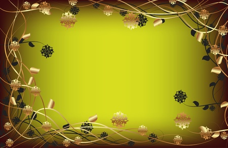 descriptive colours: Vector frame with gold flowers on a dark background Illustration