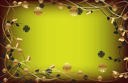 descriptive color: Vector frame with gold flowers on a dark background Illustration