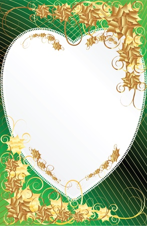 Frame heart-shaped flower on a dark background with gold Illustration