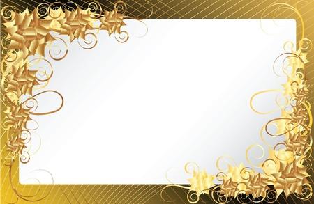 bordures fleurs: Or floral frame sur un fond de couleur fonc�e de l'or