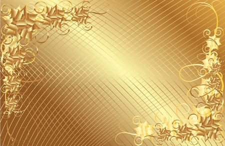 Gold floral frame on a dark background color of gold Vector