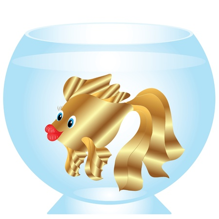 tank fish: Vector goldfish in a fishbowl on a white background Illustration