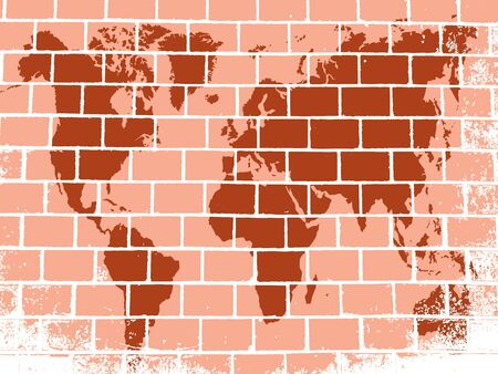 A brick wall with an image map of the world graffiti Vector