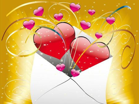 The card on Valentine's Day with love letters and a heart Stock Vector - 11659475