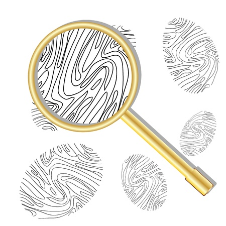 csi: Fingerprint viewed under a magnifying glass on white background