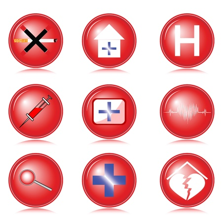 Set of medical icons executed in red on a white background Vector
