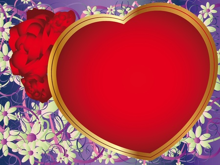 Romantic background with a large golden heart and roses Vector