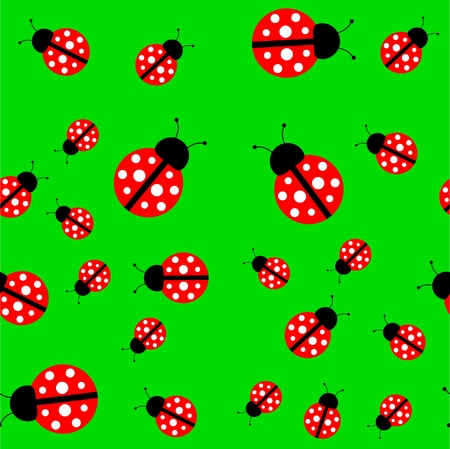 Seamless vector background with a green ladybug (EPS 8)
