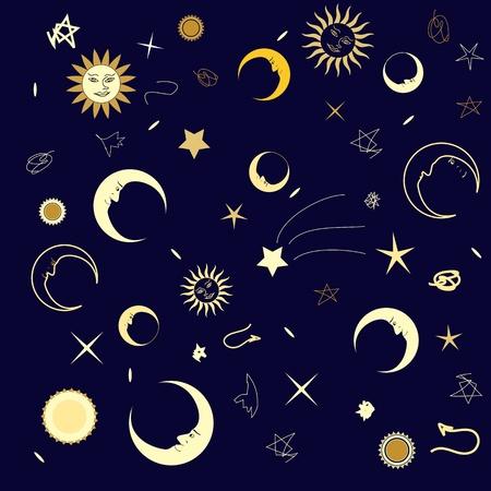 estrella caricatura: Resumen textura perfecta con un cielo nocturno divertido de la luna y las estrellas