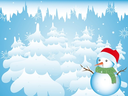 Christmas background with a snowman in a snow frosty forest  Vector