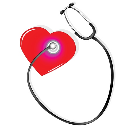The human heart is heard with a stethoscope for medical purposes Vector